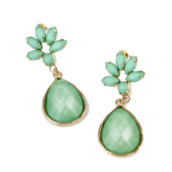 Cerys Mint Floral Stone Earrings