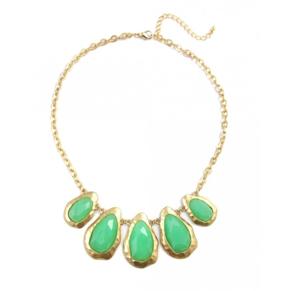 Mint Faceted Stone Encrusted Teardrop Statement Necklace