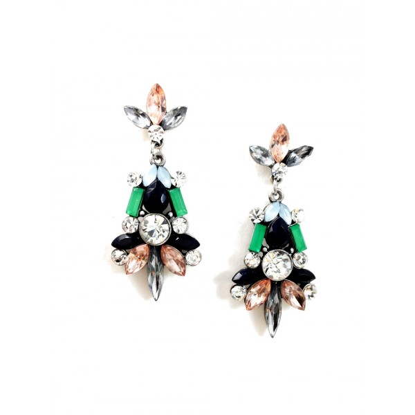 Empress Mint Crystal Stone Cluster Statement Earrings