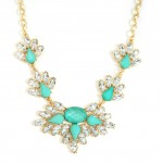 Berria Mint Opal Feather Crystal Gems Necklace