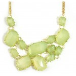 Geometric Faux Stone Fragments Link Statement Bib Necklace