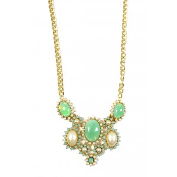 Amazon Mint Cabochon Crystal Cluster Statement Necklace