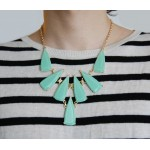 'Kai' Seafoam Geometric Stone Cluster Statement Necklace