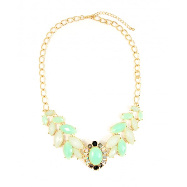 Sunburst Mint Wreath Faceted Stone Statement Bridal Necklace