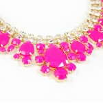 Neon Pink Crystal Teardrop Stone Statement Necklace