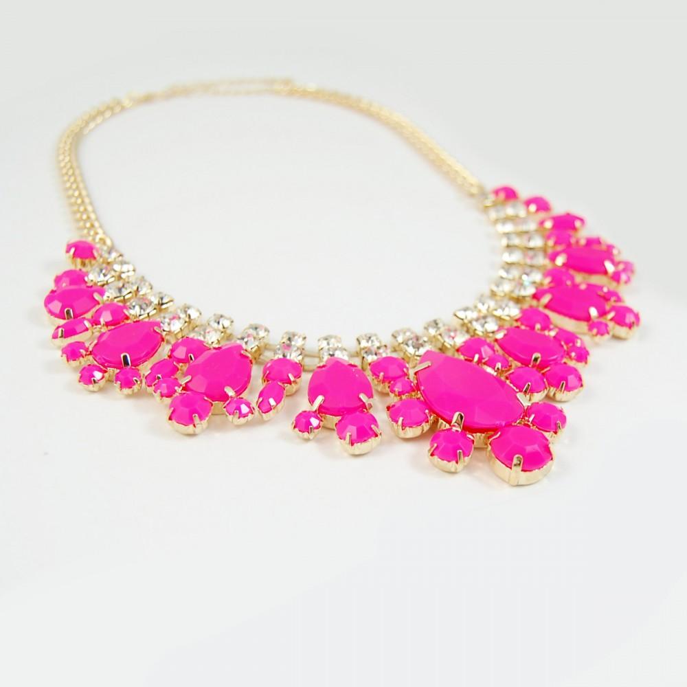 Neon Pink Crystal Teardrop Stone Statement Necklace