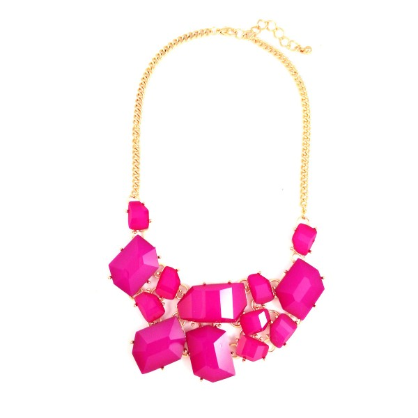 Fuchsia Pink Shattered Stone Fragments Statement Necklace
