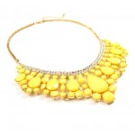 'Maryana' Yellow Teardrop Pave Collar Statement Necklace