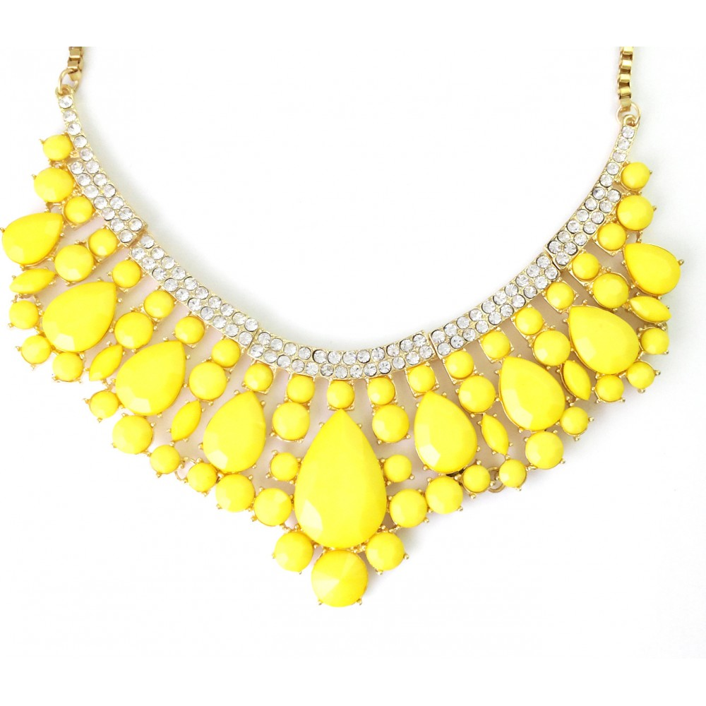 Neon Yellow Teardrop Stone Cluster Crystal Pave Collar