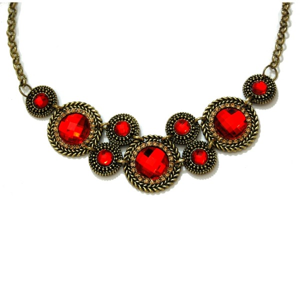 Vintage Ruby Faceted Stone Cogs Bib Statement Collar Necklace