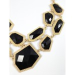 Obsidian Faceted Stone Fragments Statement Necklace