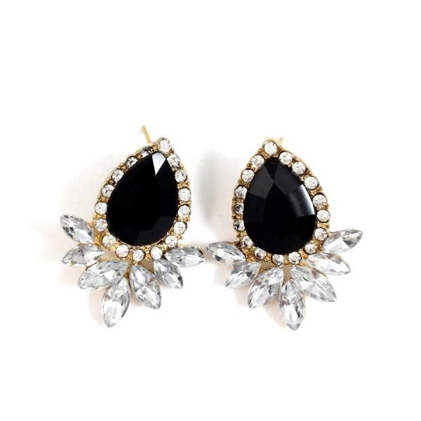 Onyx Crystal Marquise Wing Stud Earrings
