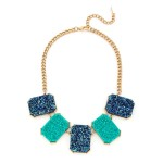 Turquoise Titanium Druzy Statement Necklace