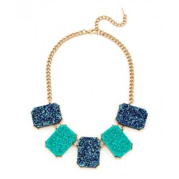 Turquoise Titanium Druzy Statement Necklace