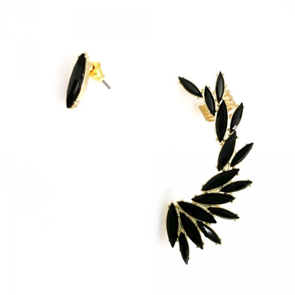 Heiress Onyx Marquise Burst Stone Wing Ear Cuff