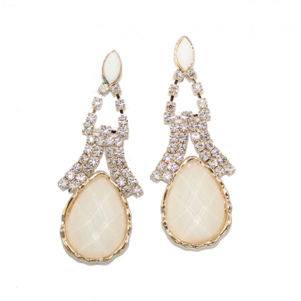 Ivory Resin Opalline Stone Teardrop Stud Earrings