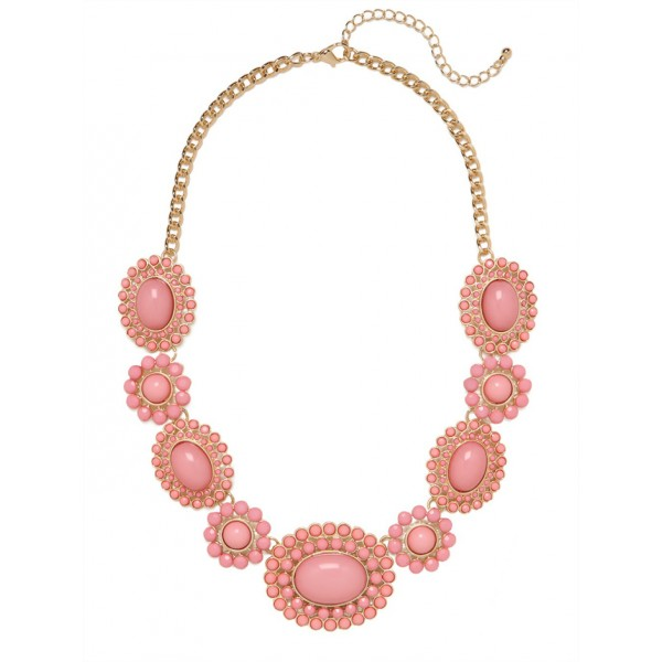 Blush Pink Cabochon Sun Bloom Statement Bauble Necklace