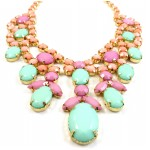 Pastel Candy Stone Cluster Bib Statement Necklace