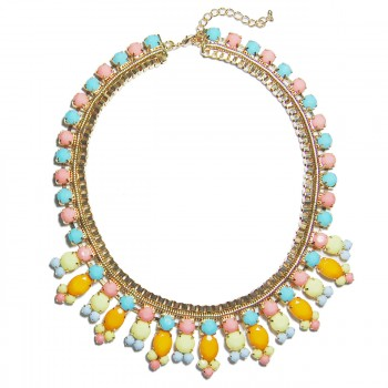 Pastel Candy Color GemStone Statement Necklace