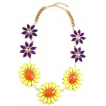 Pastel Yellow and Purple Daisy Flower Necklace