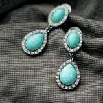 Pave Turquoise Teardrop Dangle Statement Stud Earrings