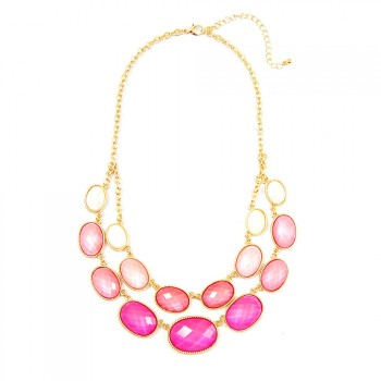 Ombre Pink Oval Double Row Bib Necklace
