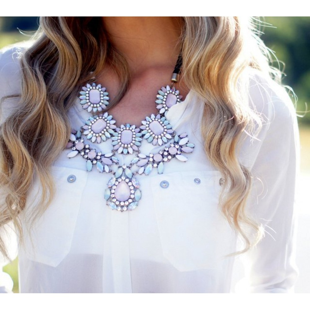 Beaded Opal Blush Marquise Stones Statement Necklace