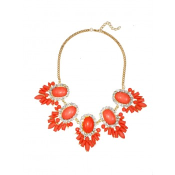 Anwen Coral Cabochon Bauble Burst Necklace