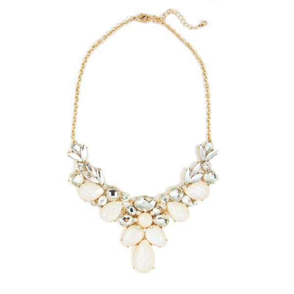 White Hydrangeas Crystal Faceted Opal Gemstone Cluster Bridal Statement Necklace