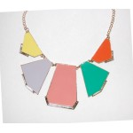Pastel Geometric Panel Statement Bib Necklace