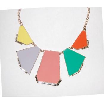Pastel Geometric Panel Statement Bib Necklace