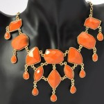 Coral Faceted Geometric Stone Statement Necklace