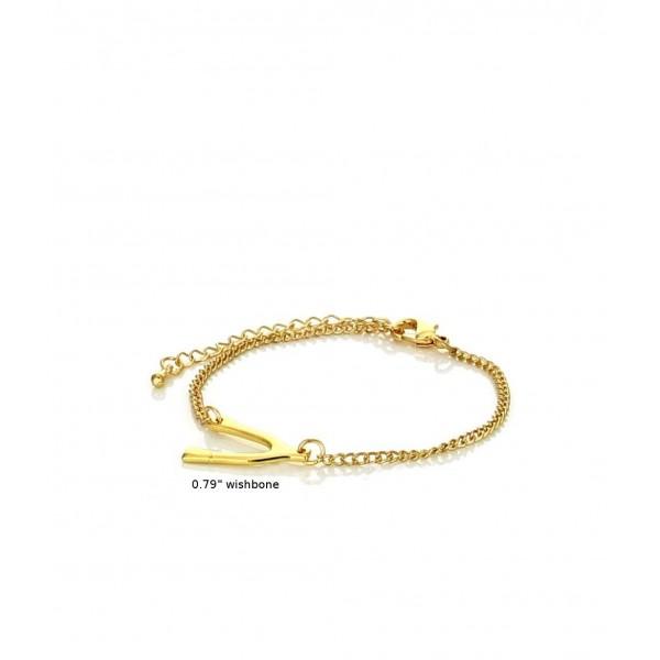 Dainty Sideway Horizontal Wishbone Gold Tone Chain Bracelet