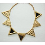 Hammered Geometric Triangle Gold Toned Statement Necklace
