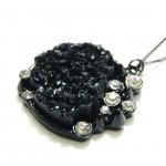 Spike Onyx Druzy Crystal Heart Pendant Necklace