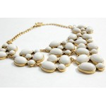 White Oval Bubble Floral Bib Statement Necklace