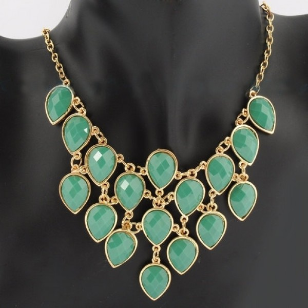 Goddess Faceted Teardrop Net Bib Statement Necklace