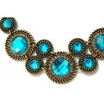 Vintage Sapphire Faceted Stone Cogs Statement Necklace