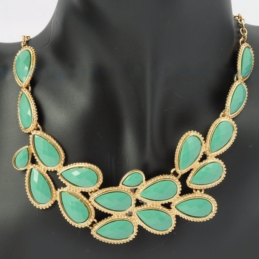 Opalline Pink Teardrop Cluster Gemstone Bib Necklace