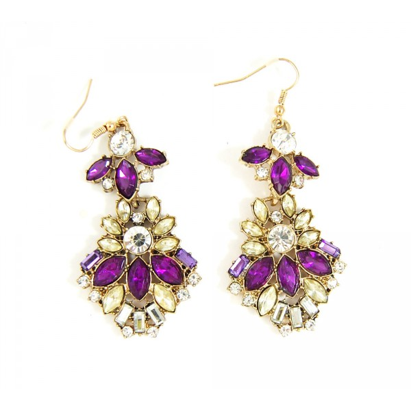 Isla Amethyst and Champaign Floral Marquise Earrings