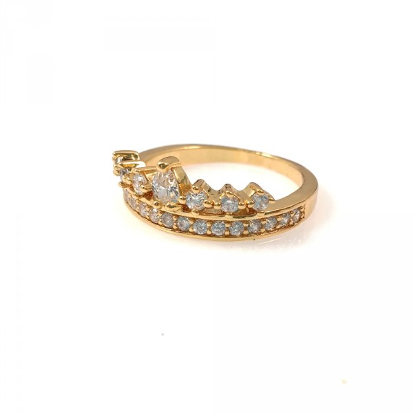 'Heiress' Crown Crystal CZ 18K Gold Ring