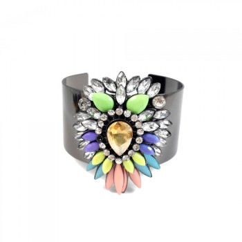 Apolonia Rainbow Neon Crystal Mix Statement Metal Cuff