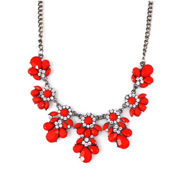 Flora Red Hematite Statement Necklace