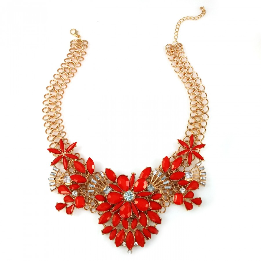 Red Verbena Flower Bouquet Faceted Stone Cluster Statement