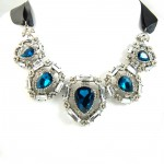 Narcissa Sapphire Teardrop Art Deco Statement Necklace