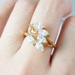 Crystal Flora Cubic Zirconia 18K Gold Ring