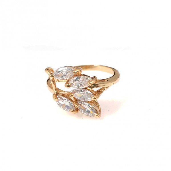 Crystal Flora Cubic Zirconia 18K Gold Ring
