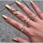 Edgy & Glam Crystal Triangle Arrow Midi Knuckle Ring Set