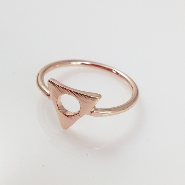 Triangle Circle Hammered 18K Plated Handmade Rose Gold Ring