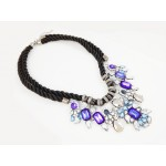 Duchess Sapphire Crystal Cluster Floral Statement Necklace